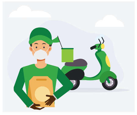 Food delivery service concept ,Male food delivery worker is Delivery paperbag of Food to you. Flat vector cartoon illustration. Vettoriali