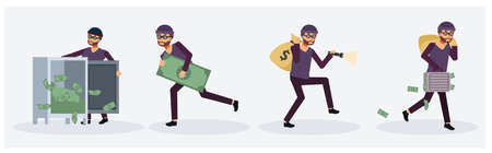 Collection set of Male thief in variety action, Criminal person, Flat vector cartoon character illustration.