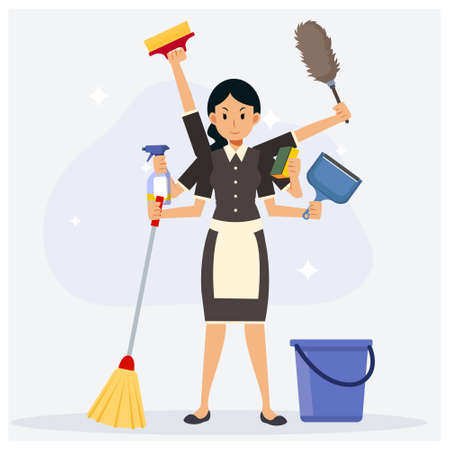 Super maid and home cleaning equipment.Flat vector cartoon character.