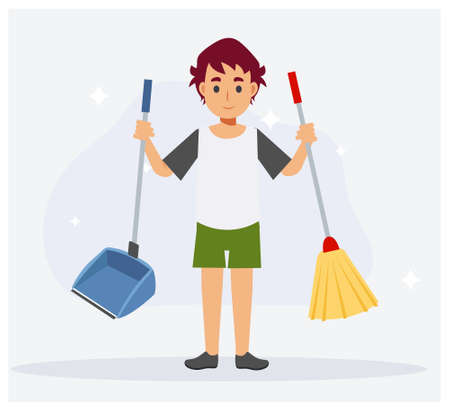 Young little boy holding broom and dust scoop after help cleaning housework. Sparkle around him,clean. Flat cartoon vector