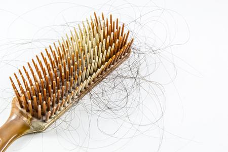 cabello: El pelo largo cae en un cepillo de pelo
