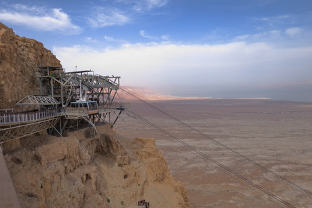 Cable-car to Masada Fortification - Israel Stock Photo