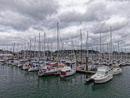 La Trinité-sur-mer, Brittany, France - 15 AUG 2018 - Boats in the harbor