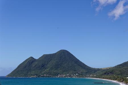 Le Diamant beach and Larcher mount - Martinique FWI