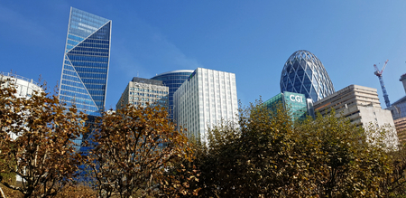 9 OCT 2018 - La Défense towers and skyline - Paris, France Banque d'images - 116311919