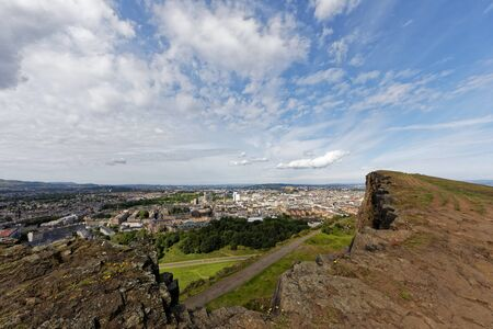 Edinburgh cityscape view from Holyrood park - Edinburgh, Scotland, United Kingdom
