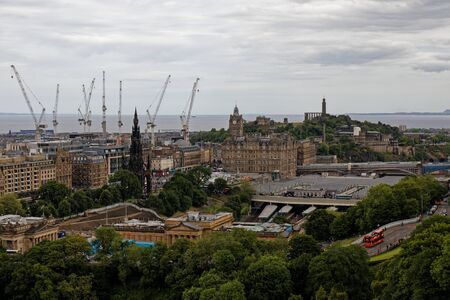 Edinburgh cityscape, view from the castle - Scotland, United Kingdom