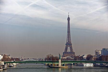 Eiffel Tower and Grenelle bridge - Paris, France