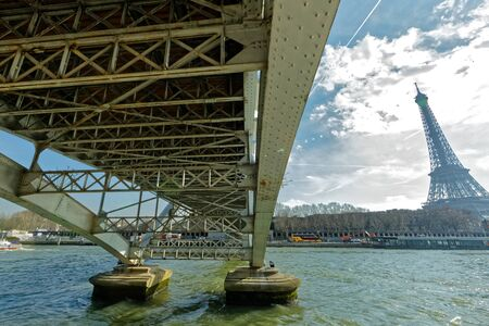 Paris, France - The Debilly footbridge and The EIffel Tower 스톡 콘텐츠