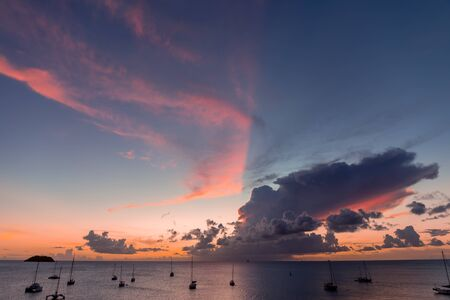 Les Trois-Ilets, Martinique, FWI - Sunset in Anse Mitan Stock Photo