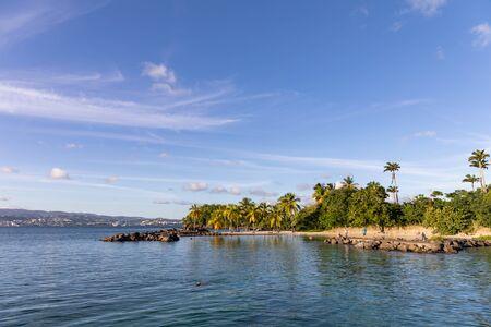 11 SEP 2019 - Les Trois-Ilets, Martinique, FWI - Caribbean beach in La Pointe du Bout Foto de archivo