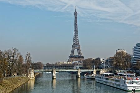 Eiffel tower and Bir Hakeim bridge - Paris, France