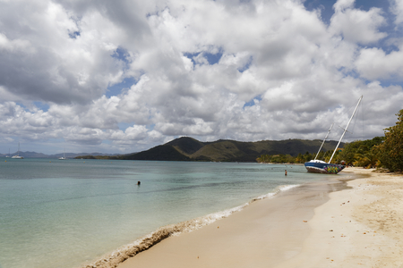 Sainte-Anne, Martinique, FWI - Abandoned beached sailboat in Pointe Marin beach Sajtókép