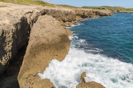 Sainte-Anne, Martinique, FWI - Ferre Cape - Waves on the rocks in Pointe La Rose Stock Photo
