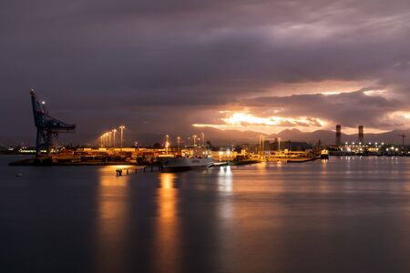 5 JAN 2020 - Pointe-a-Pitre, Guadeloupe, FWI - Jarry industrial zone and harbor by night