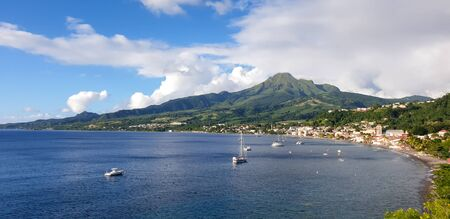 Saint-Pierre, Martinique, FWI - View to the city and the Mount Pelee