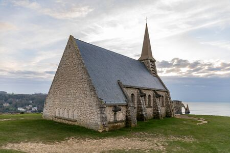 Etretat, Normandy, France - The church at the top of the northern cliff ('Amont' cliff)