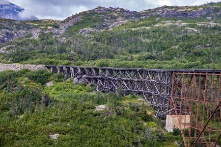 Old bridge on the White Pass and Yukon road railway - Alaska, USA