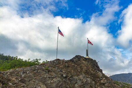 Whitepass border between USA (Alaska) and Canada (Northern British Columbia) Banque d'images