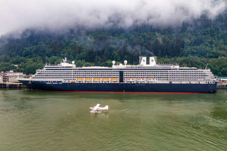 18 AUG 2014 - Juneau, Alaska, USA - Westerdam Cruise Ship in Juneau Harbor