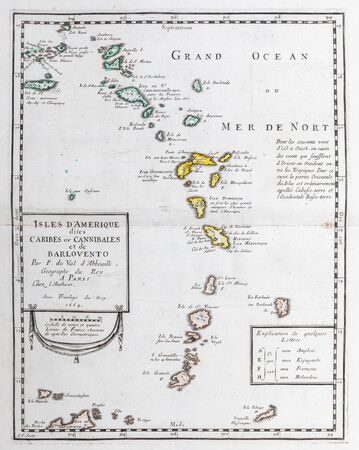 Old map of Esastern Caribbean - From an 1656 Atlas of Geography from P. du Val - France (Private collection) Foto de archivo