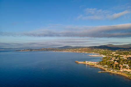 Aerial view of Les Issambres seafront in French Riviera (South of France) Stock Photo