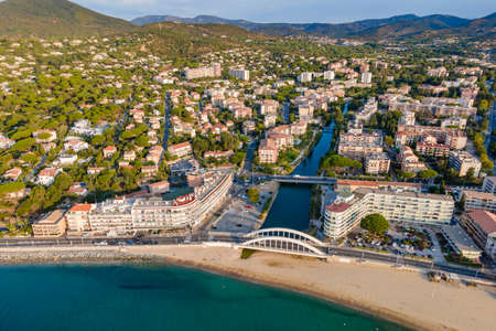 Aerial view of Sainte-Maxime seafront and its famous bridge in French Riviera (South of France)