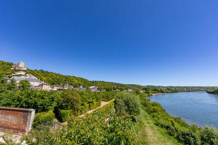 The village of La Roche-Guyon over the Seine river, Val d'Oise, France