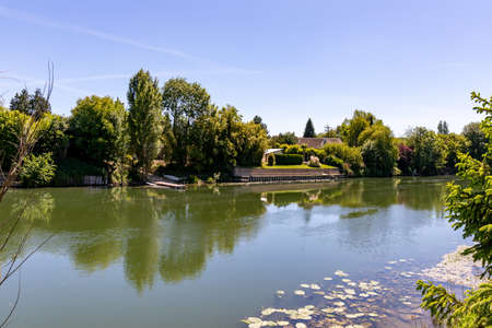 Near Giverny, the Seine River bank in Bennecourt, Yvelines, France