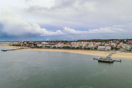 View of Arcachon and its piers, Arcachon bay, Aquitaine, France
