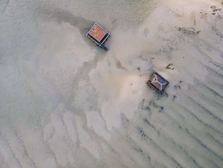 Aerial view of the cabins on piloti in Isle of Birds, Arcachon bay, Aquitaine, France