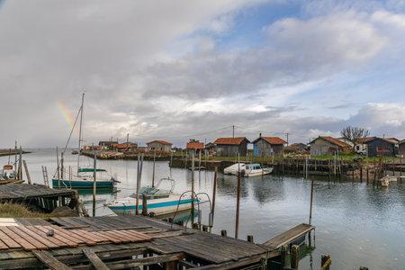 Larros Harbor in Arcachon Bay - Gujan-Mestras, Aquitaine, France Archivio Fotografico