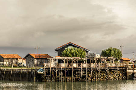 Oyster cabins in Larros Harbor in Arcachon Bay - Gujan-Mestras, Aquitaine, France
