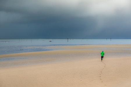 Beach of Larros in Arcachon Bay - Gujan-Mestras, Aquitaine, France Archivio Fotografico
