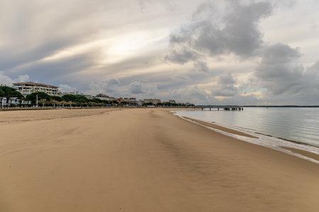 View to Arcachon beach from Eyrac Pier, Aquitaine, France