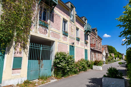 Quiet street in the village of Giverny, Eure, Normandy, France
