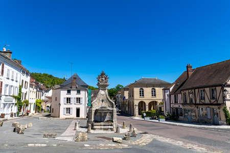 The village square of La Roche-Guyon, Val d'Oise, France