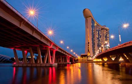 marina bay: Night view of Marina Bay Sands, Singapore