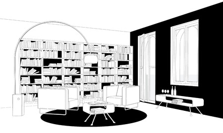 interior design living room: Perspective drawing of a living-room