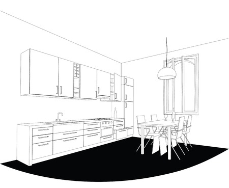 interior drawing: perspective drawing of a kitchen