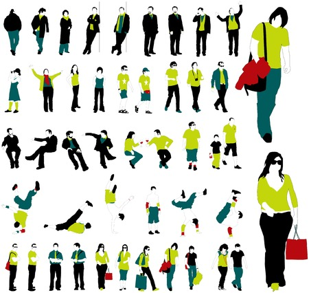 model posing: vector people with a little bit of detail. Illustration
