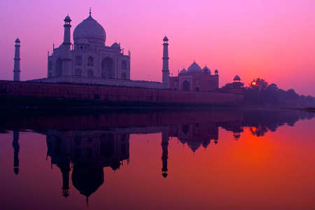 Heartbeat sunset Taj Mahal Stock Photo