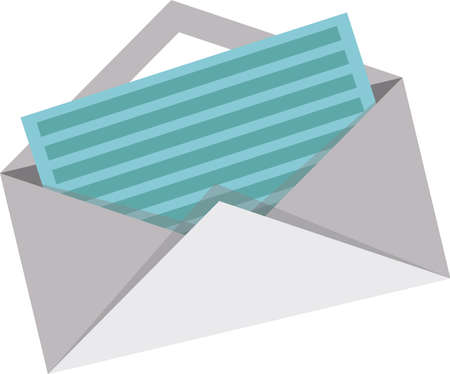 Material envelop icon with a paper 向量圖像
