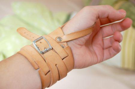 Bandage on left wrist joint