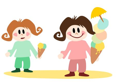 two girls with ice cream, one of them have a big dish of ice-cream