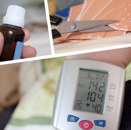 medicament: salud: medidor de presi�n arterial, medicamento y yeso