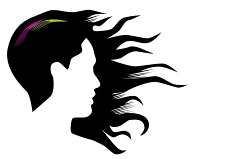 strand of hair: Illustration of a woman with long hair