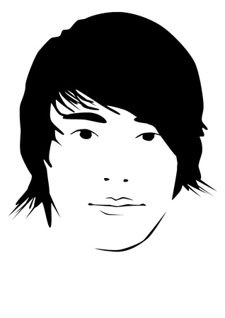 haircut: Illustration of a man with a nice haircut Stock Photo