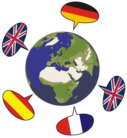 spanish language: world with speech bubbles