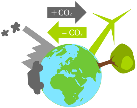 compensate: Illustration of emission trading for climate protection